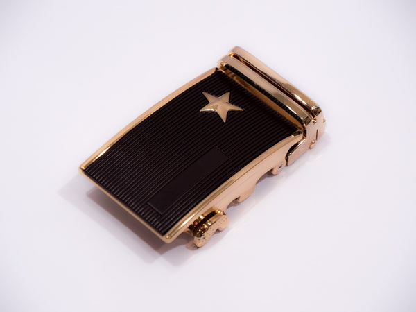 Brass Star Stud on Black Grooved