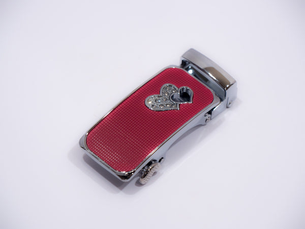 Silver Heart on Red Textured Slim Buckle