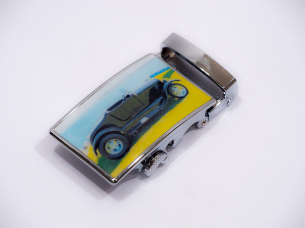 Black Hot Rod on Blue and Yellow