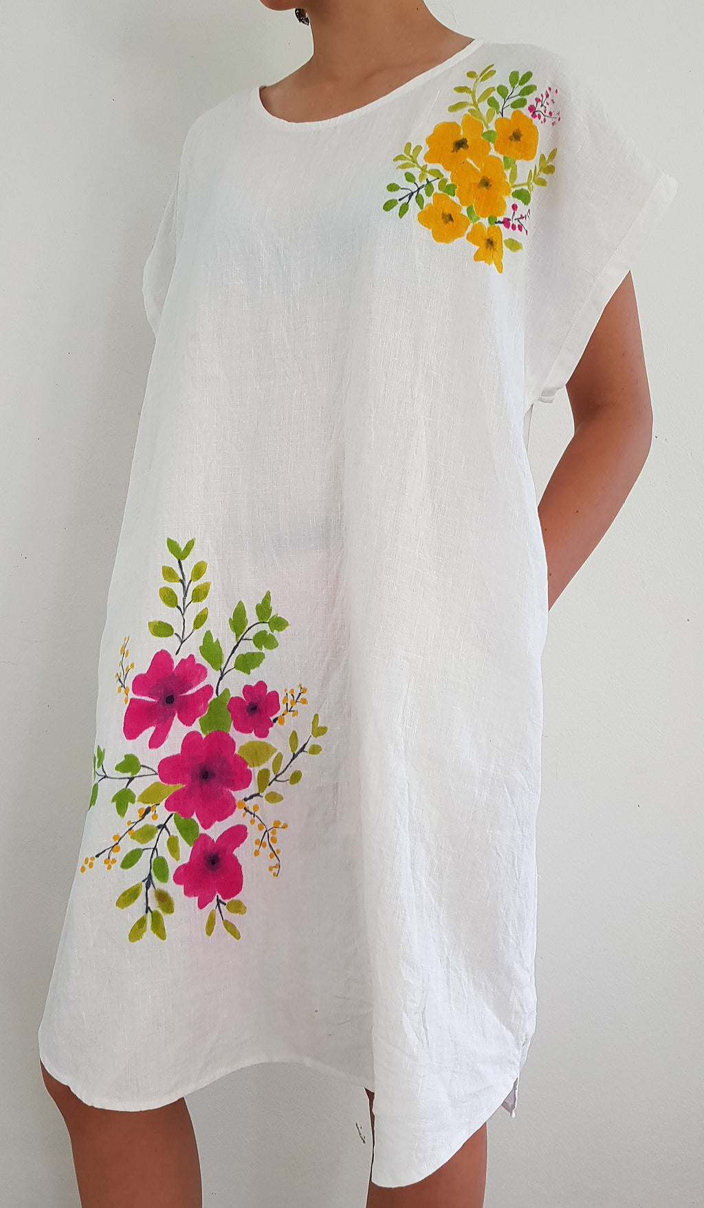 White hand-painted linen tunic dress with side pockets