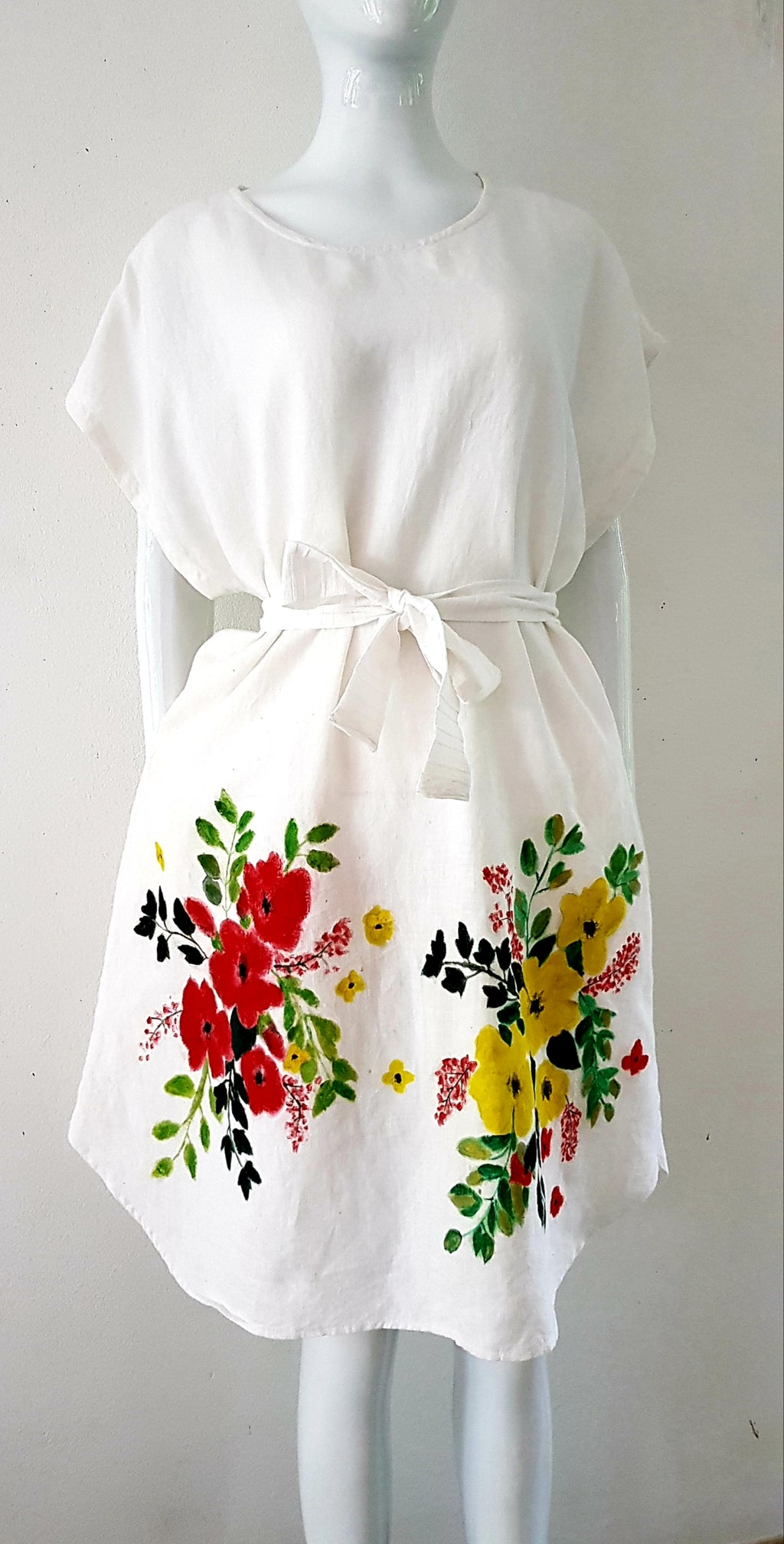 Hand-painted linen dress with side pockets