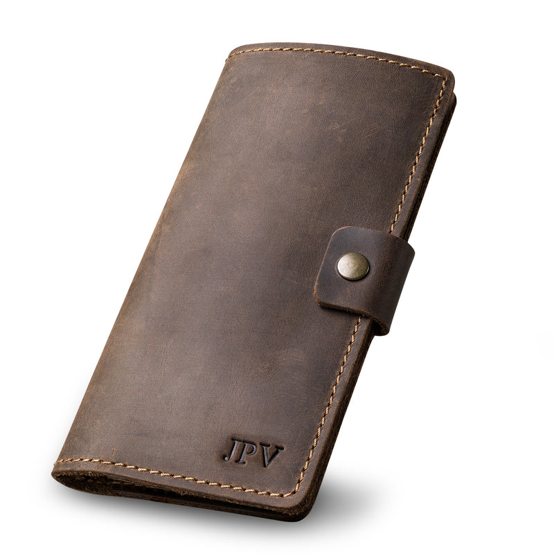 Clark Leather Checkbook Cover - Chestnut