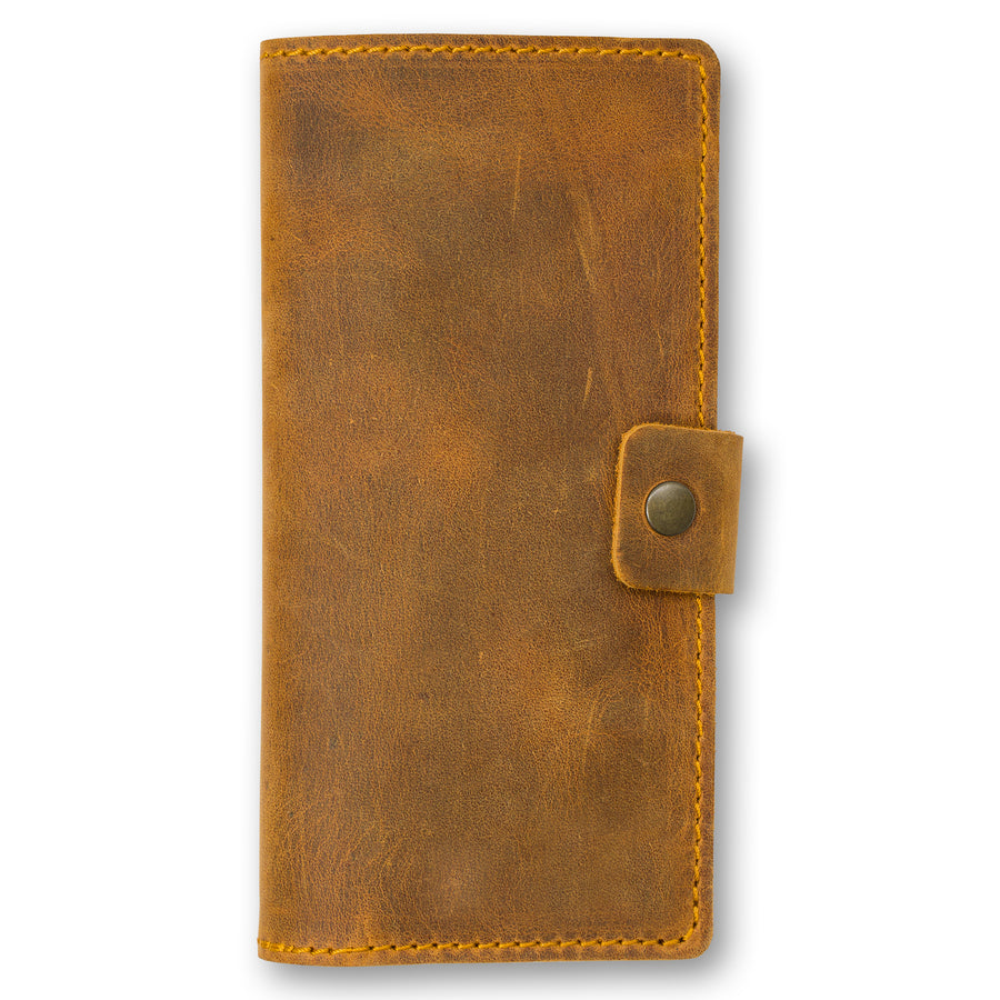 Clark Leather Checkbook Cover - Cinnamon