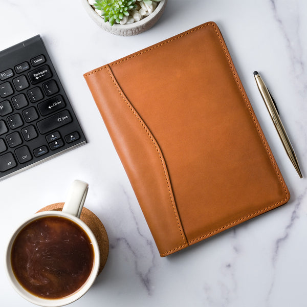 Eriksen Leather Junior Legal Padfolio - Cognac Brown