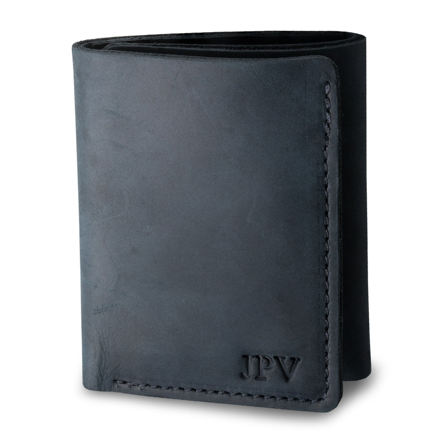 Kane Leather Trifold Wallet - Charcoal Black