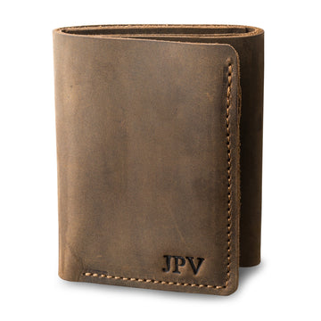 Kane Leather Trifold Wallet - Chestnut Brown