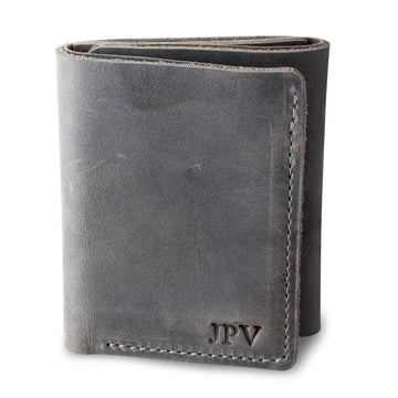 Kane Leather Trifold Wallet - Rock Gray