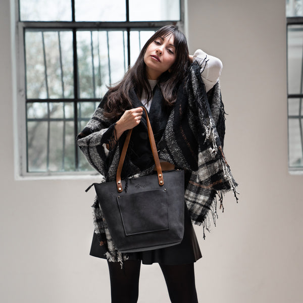 LaSalle Rustic Leather Tote - Charcoal Mini Premium