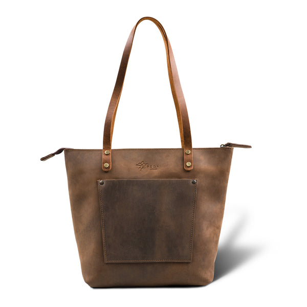 LaSalle Rustic Leather Tote  | Chestnut Mini Premium