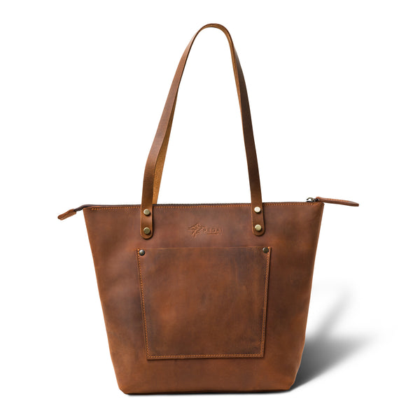 LaSalle Rustic Leather Tote  | Mahogany Mini Premium