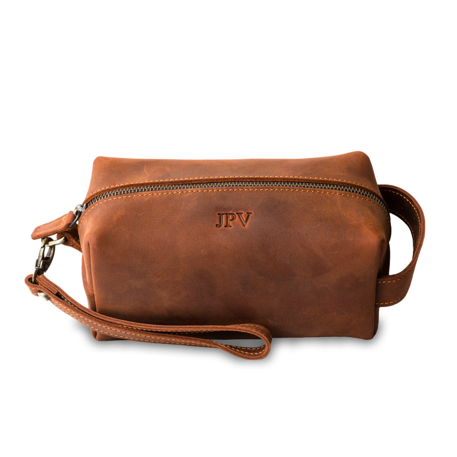 Lee Dopp Kit/ Men's Grooming Kit - Mahogany Brown