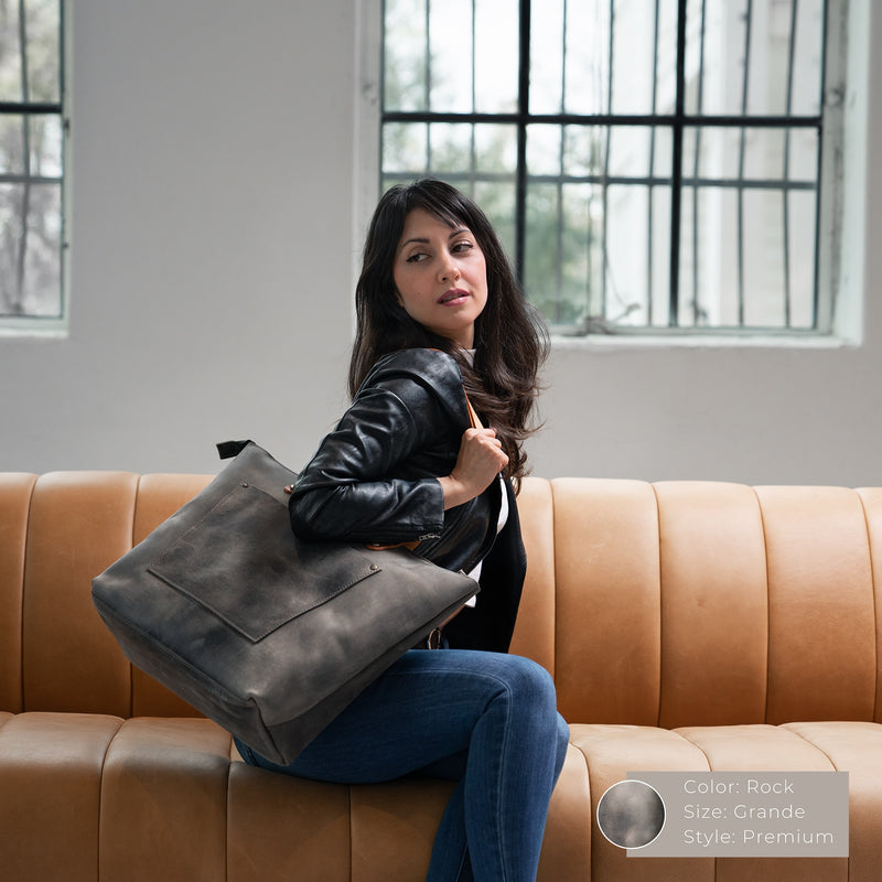 LaSalle Rustic Leather Tote - Rock