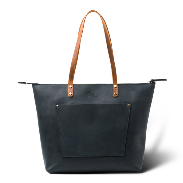 LaSalle Rustic Leather Tote - Charcoal