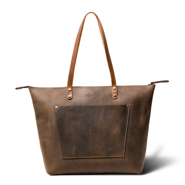 LaSalle Rustic Leather Tote - Chestnut