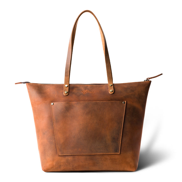 LaSalle Rustic Leather Tote - Mahogany