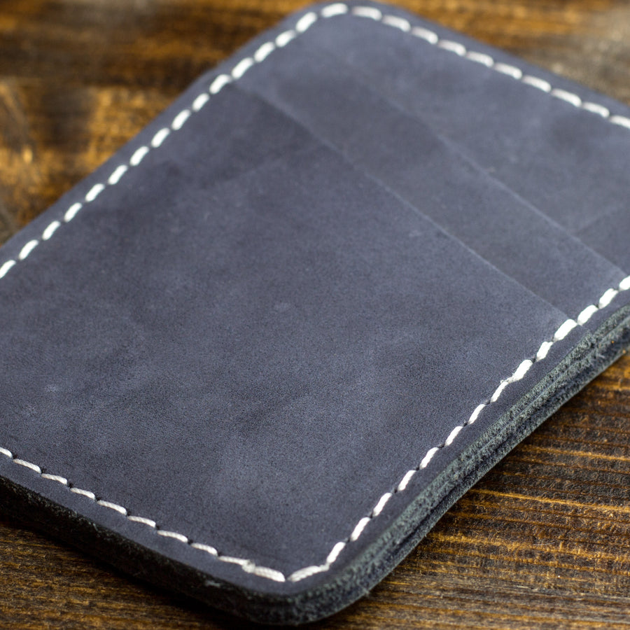 Clay Leather Card Holder - Navy
