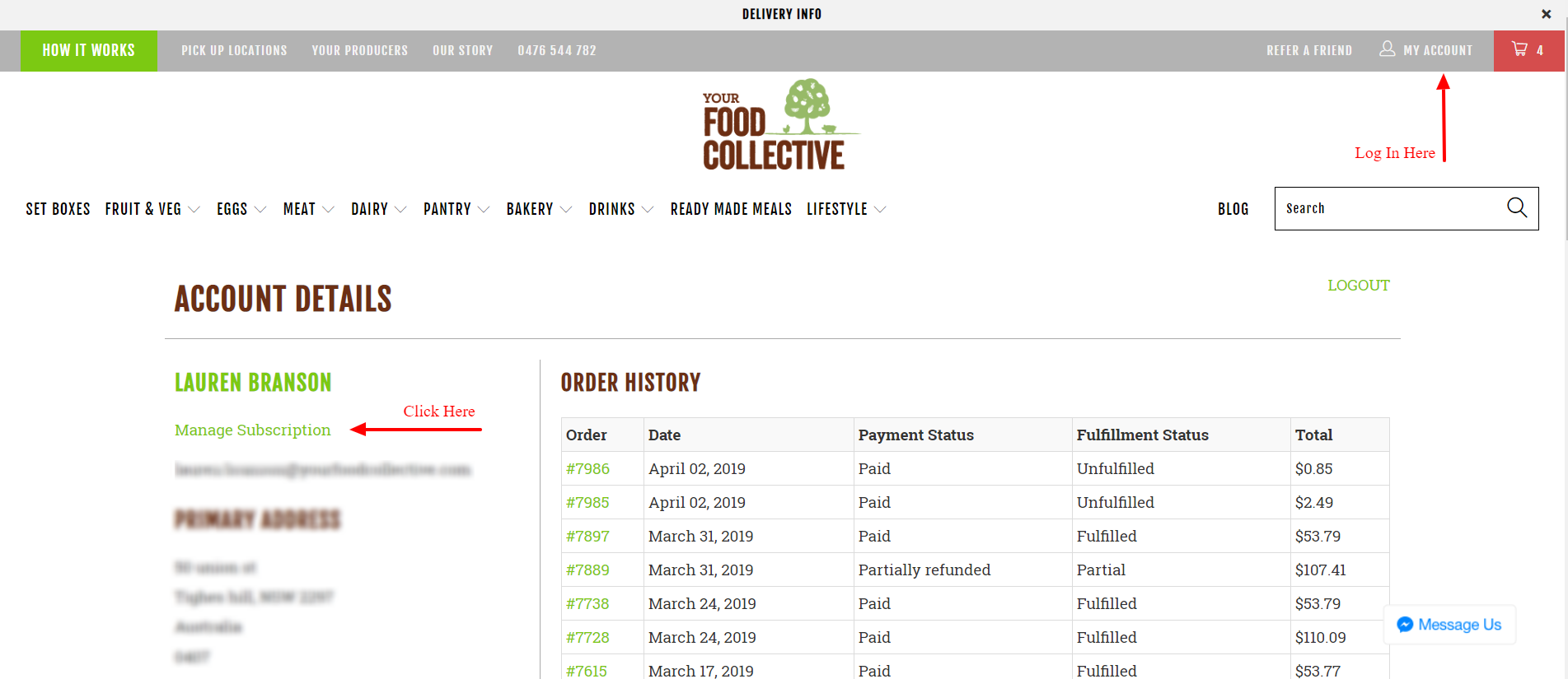 HOw to log in and manage your order