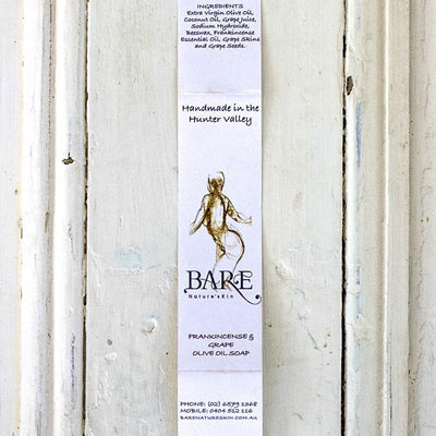 Local Frankincense & Grape Olive Oil Soap Strip from producer BARE Nature'sKin at Your Food Collective