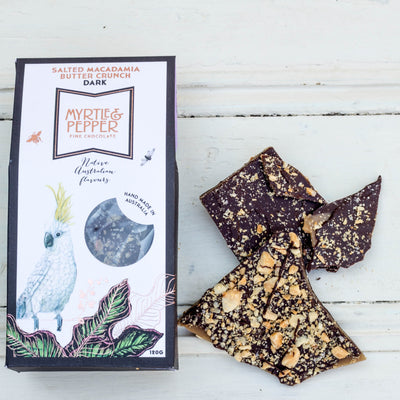Local Salted Macadamia Butter Crunch from Myrtle and Pepper fine Chocolates at Your Food Collective
