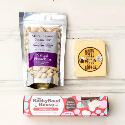 Local Savoury Snack Pack from Hunter Belle, Rocky Roadhouse, Murrungundy Pistachios and Your Food Collective