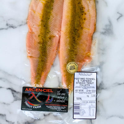 Local Mustard, Fennel and Tumeric Smoked Trout (fillets) 210g (min)