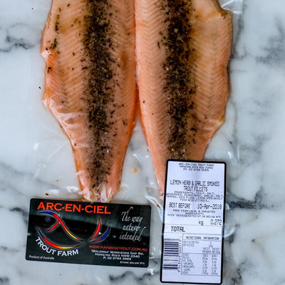 Local Herb and Garlic Smoked Trout (fillets) 210g (min)