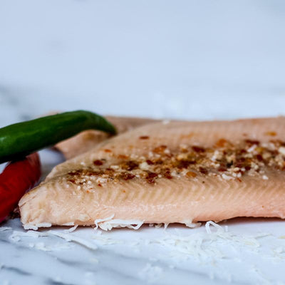 Local Coconut and Piri-piri Smoked Trout from Arc-en-Ciel trout Farm at Your Food Collective