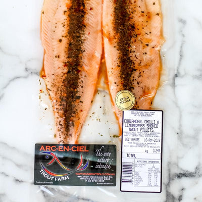Local Coriander, Chilli and Lemongrass Smoked Trout from Arc-en-Ciel trout Farm at Your Food Collective
