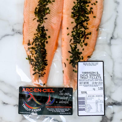 Local Tarragon and Chive Smoked Trout from Arc-en-Ciel trout Farm at Your Food Collective