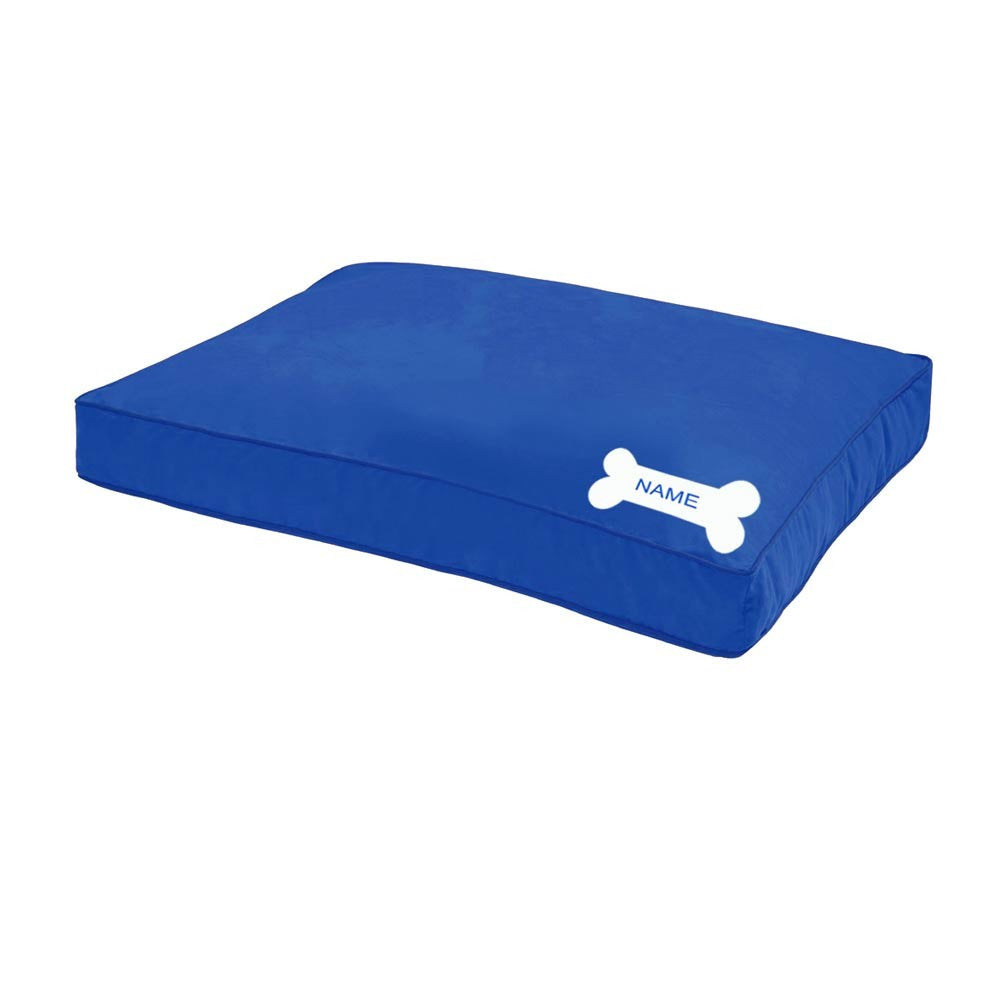 HUFT Blue Personalised Dog Bed with Bone