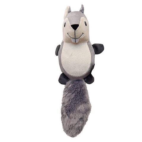 GiGwi Large Coon 2 Skin 'Plush Friendz' w/refillable squeaker Light Grey/Grey Dog Toy