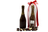 Chocolate Champagne Bottle Filled with Hearts