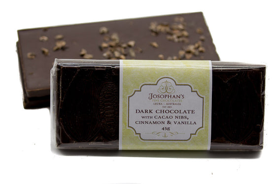 Dark Chocolate Block with Cacao Nibs, Cinnamon & Vanilla
