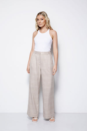 The Palazzo Pant - Check Creme (Pre Order * end of Jan delivery)