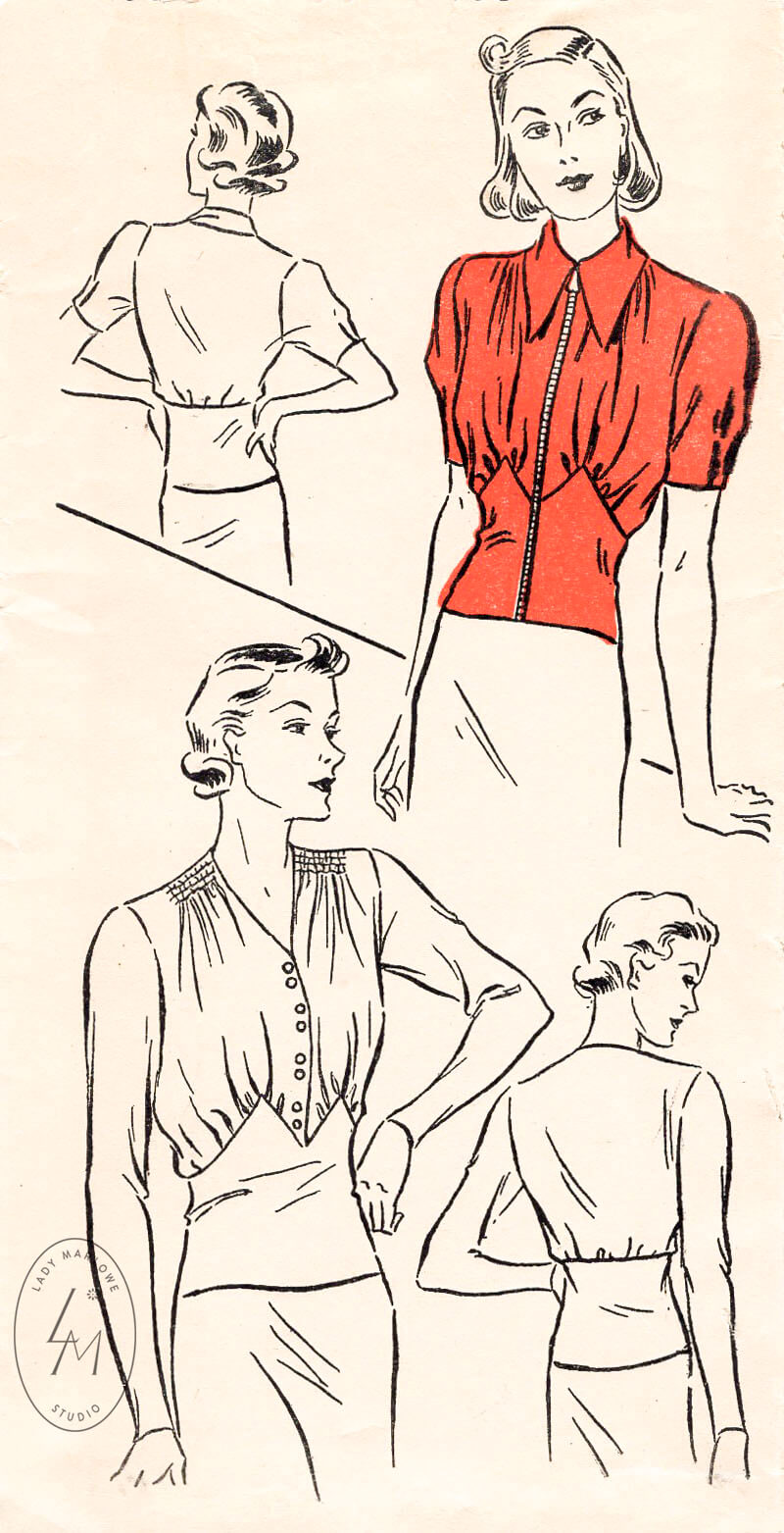 1930s blouse pattern in 2 styles New York 1002 shirring detail & puff sleeves