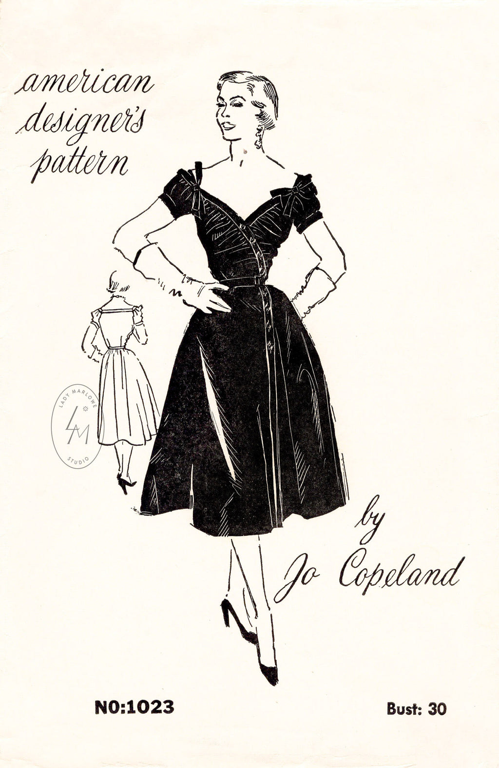 1950s 50s cocktail dress evening frock Spadea Designer 1023 Jo Copeland bardot neckline swing skirt vintage sewing pattern reproduction