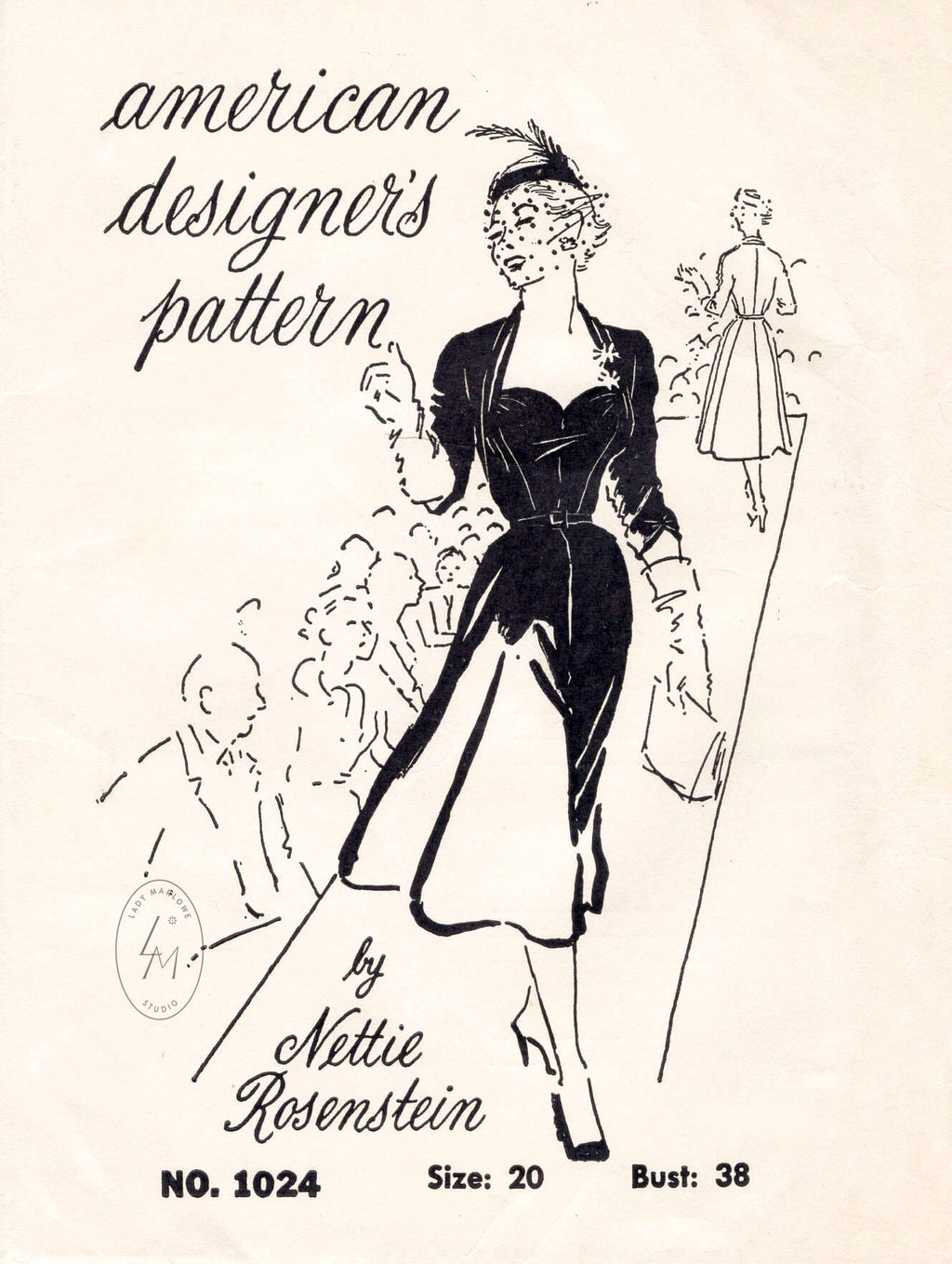 vintage sewing pattern repro LBD cocktail dress sweetheart neckline Spadea 1024 Nettie Rosenstein