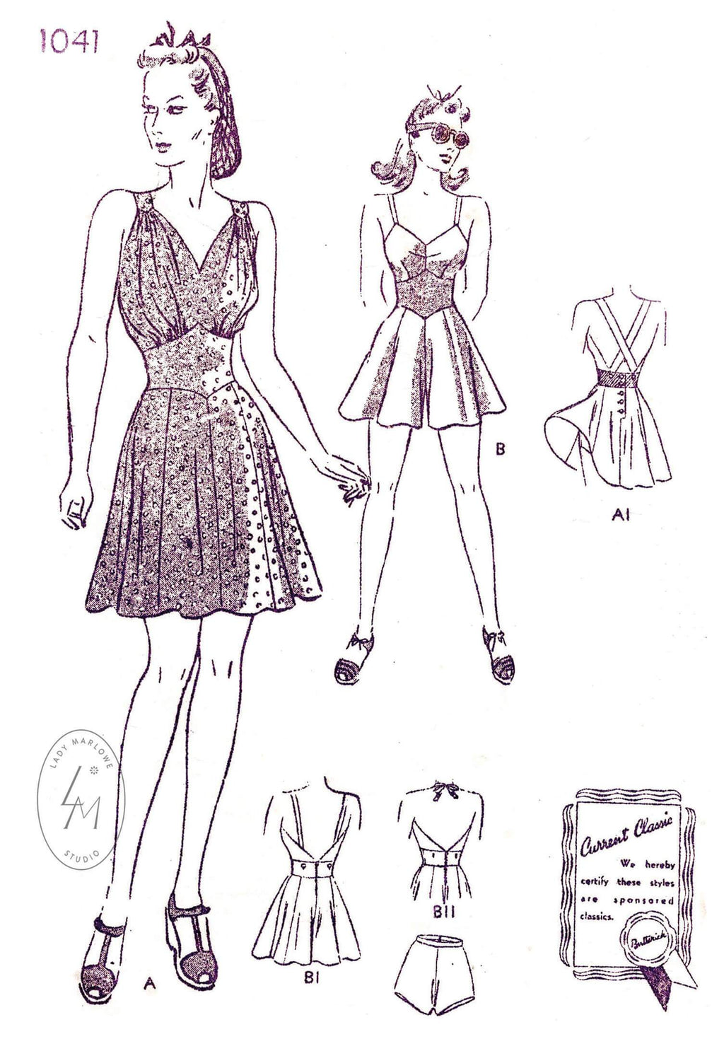 Butterick 1041 1940s beachwear playsuit flounce hem skater skirt or shorts vintage sewing pattern reproduction