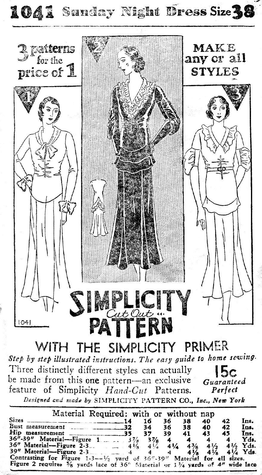 1930s sewing pattern tea dress with art deco seam details 1041 ...