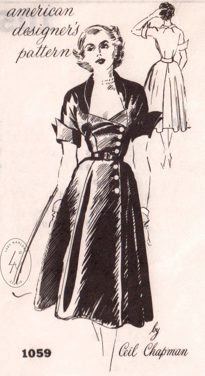 Spadea 1159 Ceil Chapman dress 1950s vintage cocktail dress sewing pattern reproduction