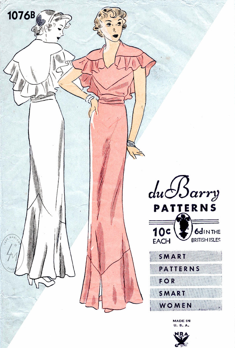 Dubarry 1076B capelet and evening gown vintage sewing pattern reproduction