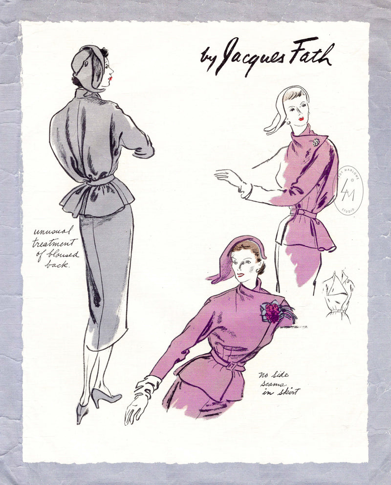 1950s Jacques Fath soft tailored skirt suit Vogue Paris Original 1085