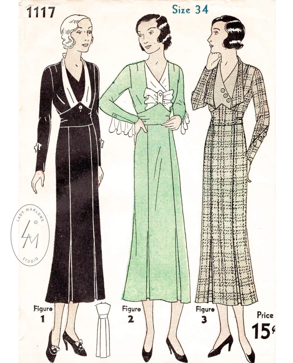 Simplicity 1117 1930s art deco dress vintage sewing pattern 1930 30s