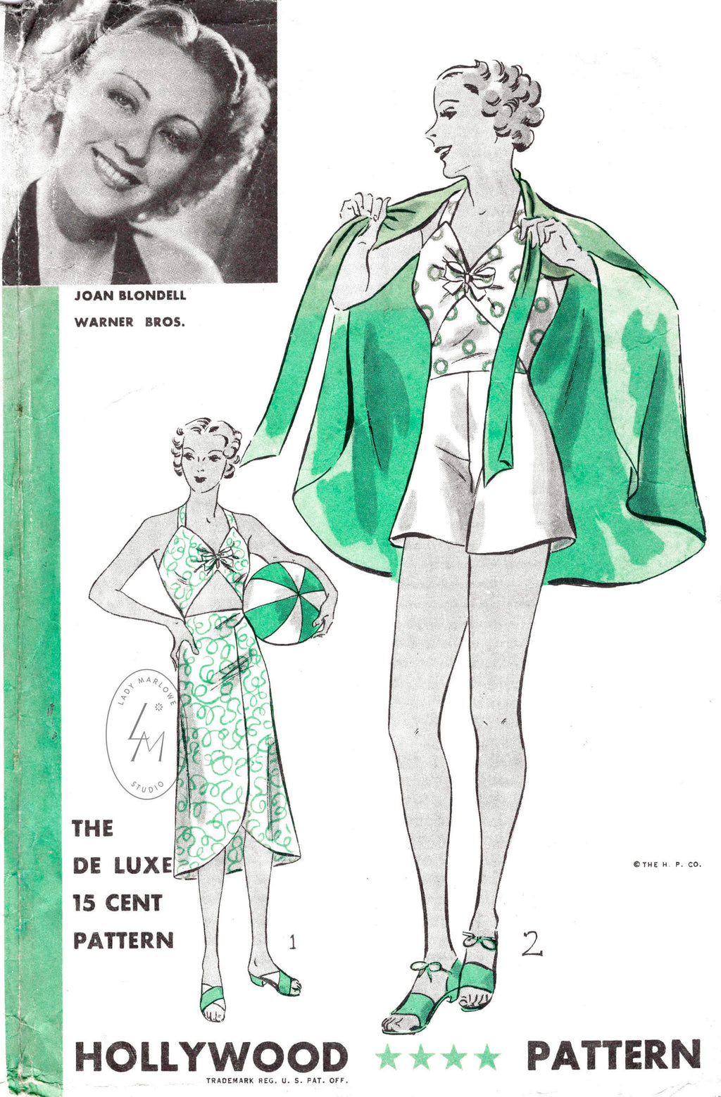 Hollywood 1134 1930s beachwear playsuit and halter dress vintage sewing pattern reproduction