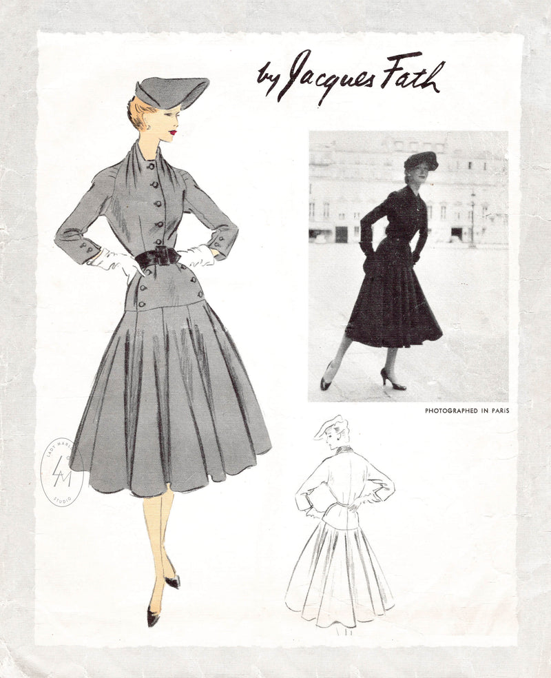 1950s tailored dress vintage sewing pattern repro Jacques Fath Vogue Paris Original 1157