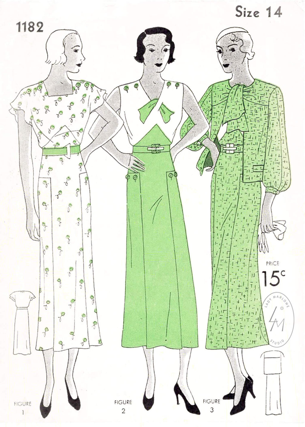 Simplicity 1182 1930s dress in 2 styles & scarf collar jacket vintage sewing pattern repro