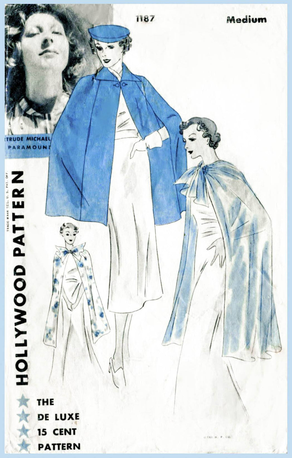 Hollywood 1187 1930s cape vintage sewing pattern