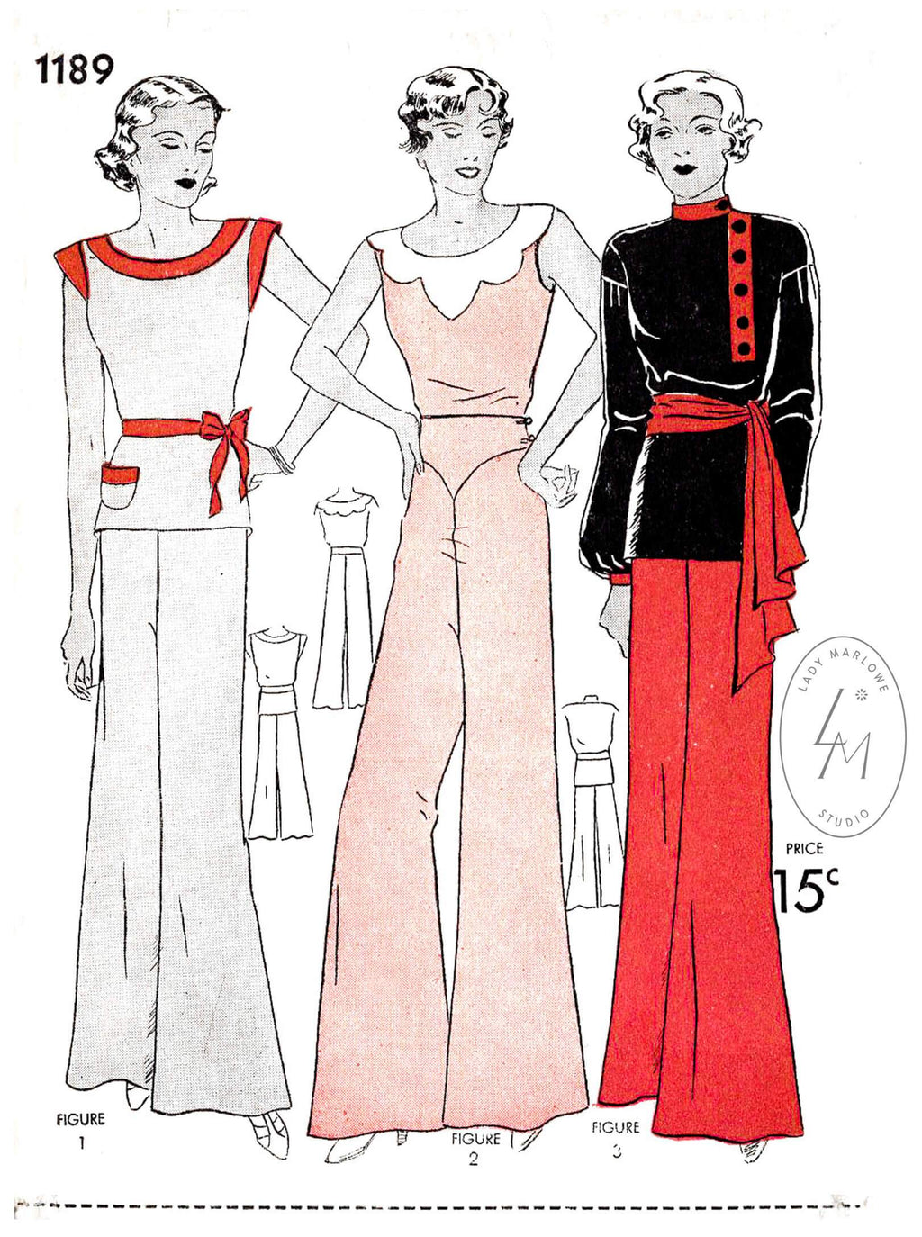 Simplicity 1189 1930s beachwear pajamas pyjama jumpsuit loungewear vintage sewing pattern reproduction