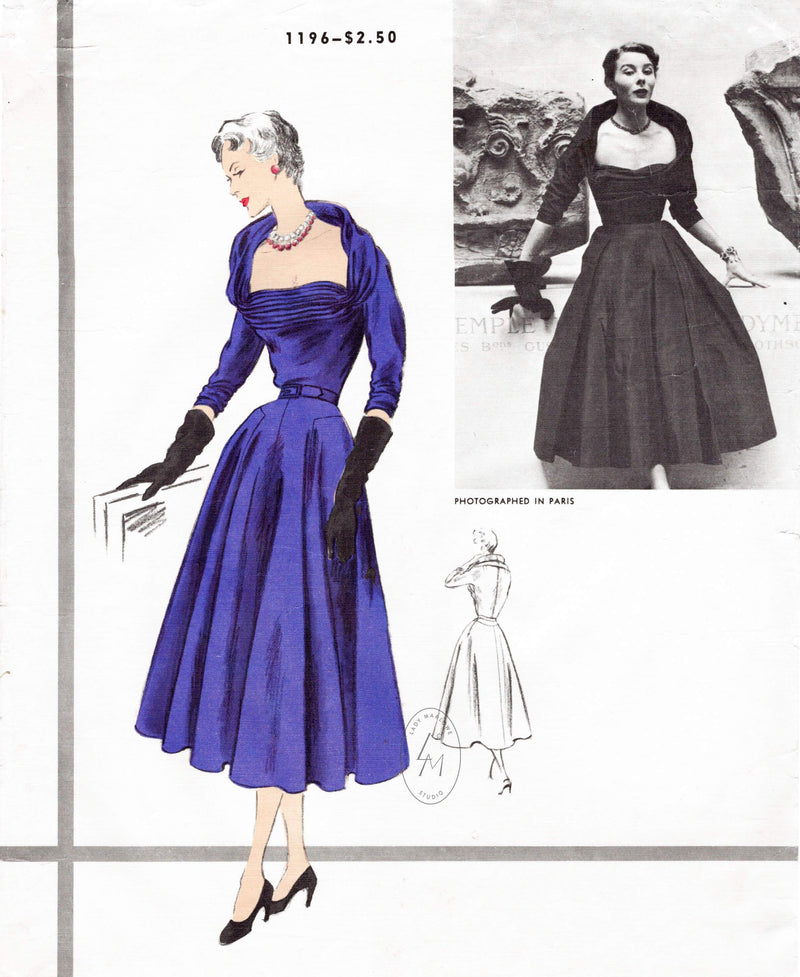 1950s dress Vogue Paris Original 1196 Desses wide neckline cinched waist full swing skirt vintage sewing pattern reproduction