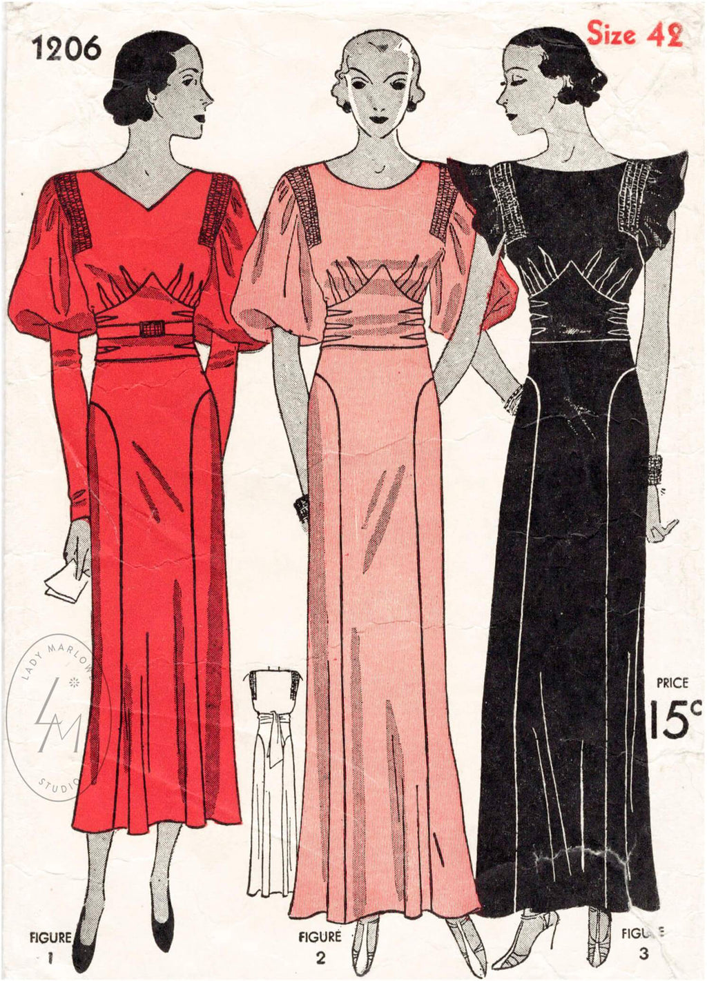 Simplicity 1206 1930s dress vintage sewing pattern